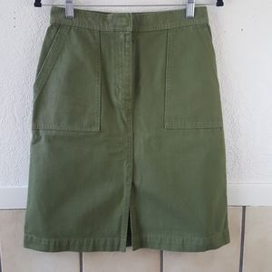 J. Crew A-Line Skirt with Pockets in Green Size 2